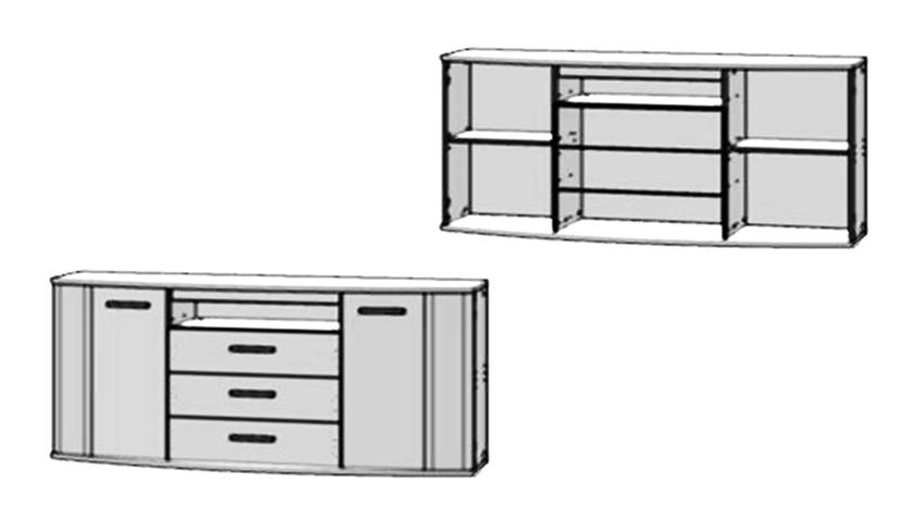 Sideboard RONDINO in Sandeiche und weiß Hochglanz mit LED-Beleuchtung