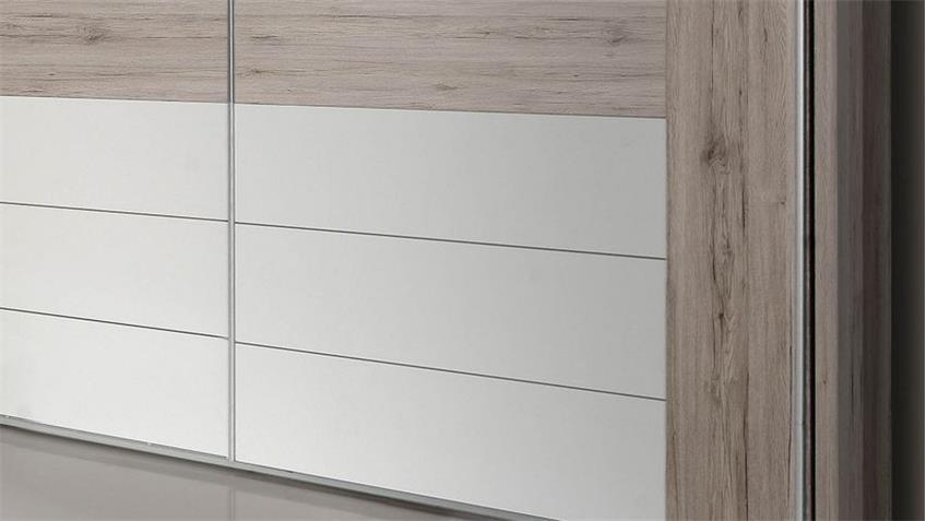 Schwebetürenschrank RONDINO in Sandeiche weiß Hochglanz mit LED 270 cm