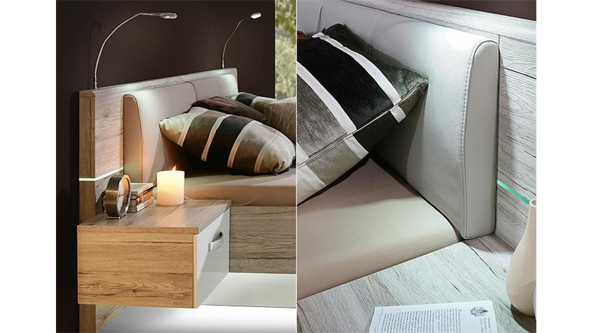 Bettanlage RONDINO Sandeiche und Weiß Hochglanz inkl.LED