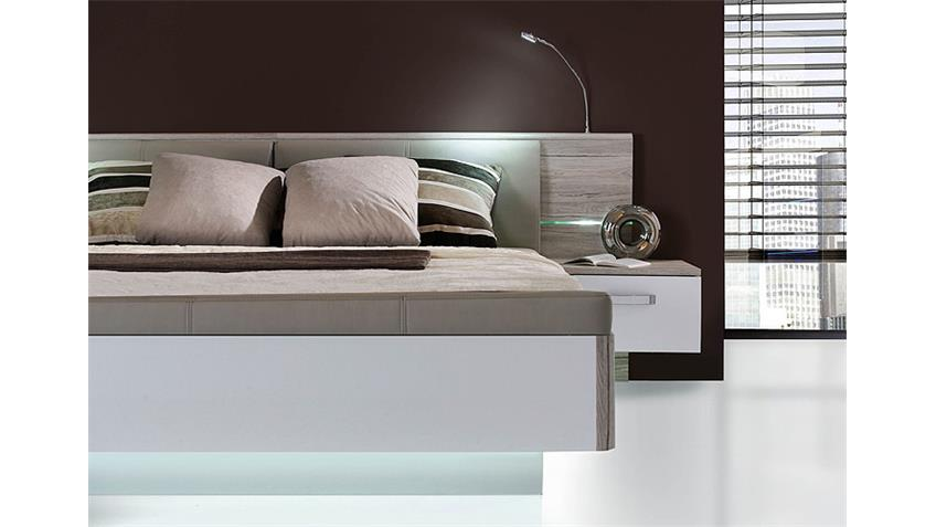bettanlage rondino sandeiche und wei hochglanz inkl led. Black Bedroom Furniture Sets. Home Design Ideas
