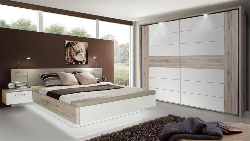 schlafzimmer 1 rondino komplettset in sandeiche wei hochglanz mit led. Black Bedroom Furniture Sets. Home Design Ideas