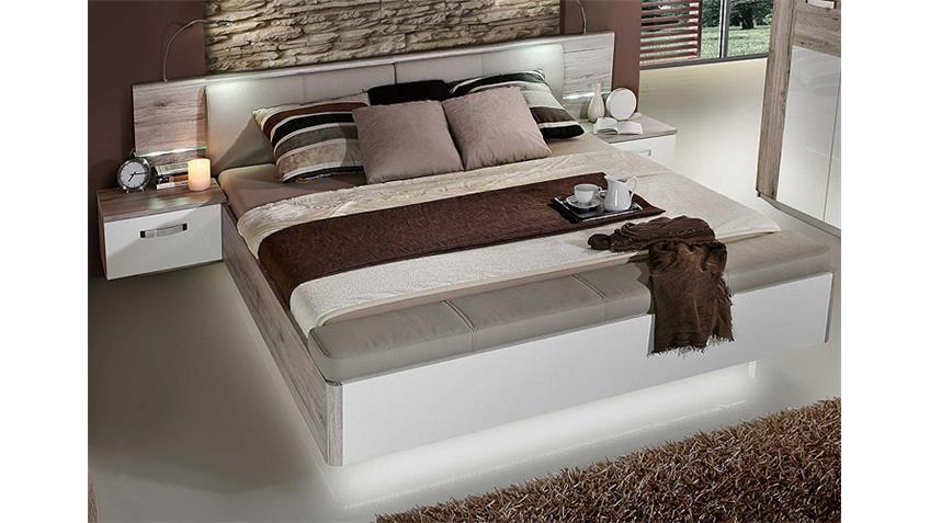 Schlafzimmer-Set RONDINO Sandeiche weiß Hochglanz inkl. LED