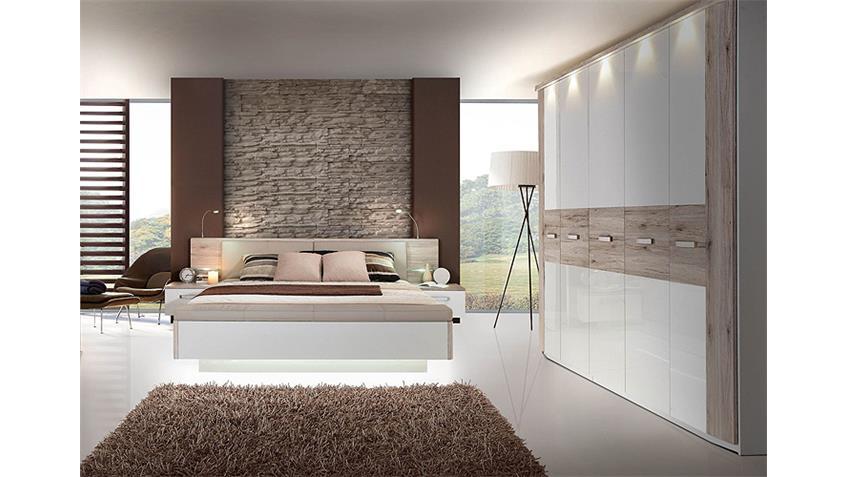 Schlafzimmerset II RONDINO Sandeiche und weiß Hochglanz