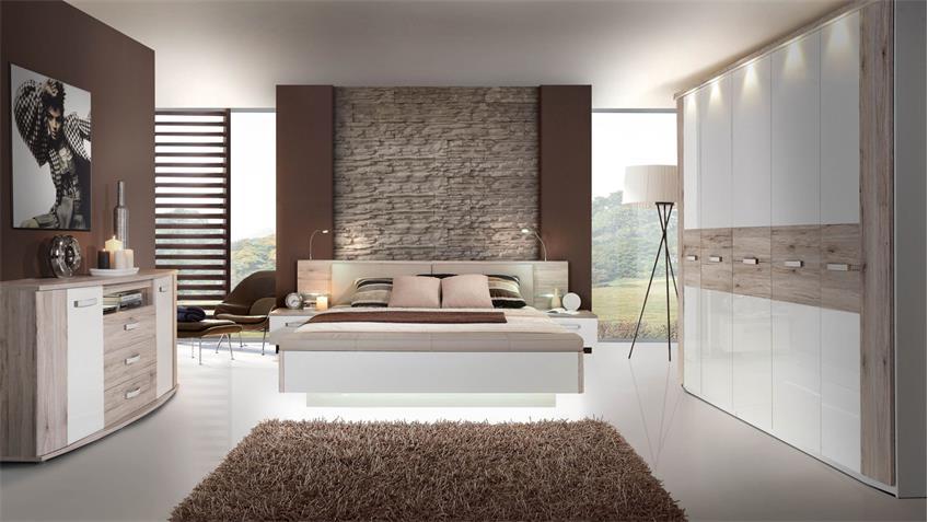 Schlafzimmer 2 RONDINO Komplettset in Sandeiche weiß Hochglanz mit LED