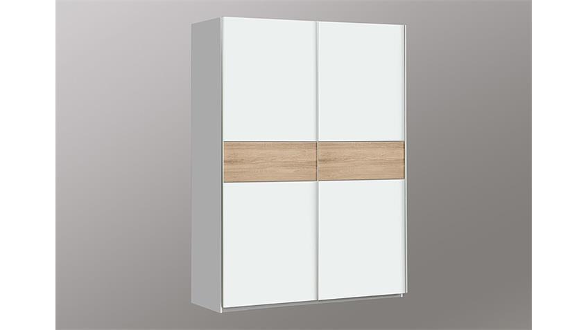 Schwebetürenschrank II WINNER Weiß und Sonoma Eiche 150 cm