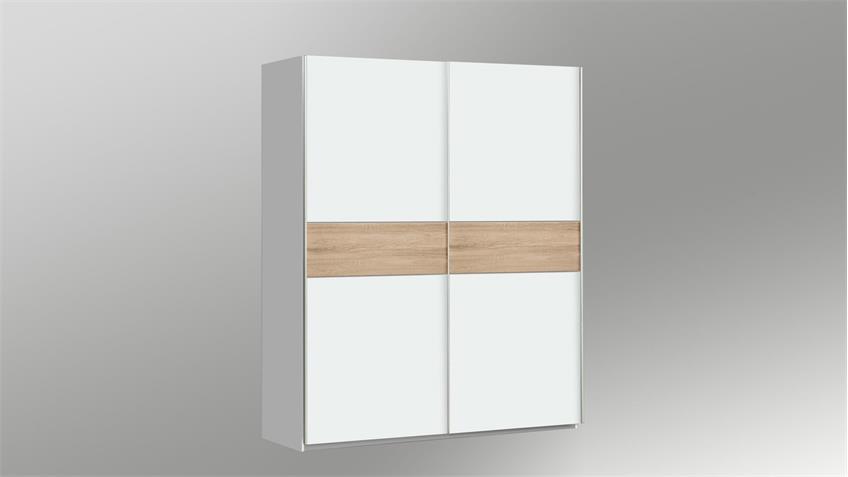 Schwebetürenschrank WINNER Schrank in weiß und Sonoma Eiche 150x190 cm