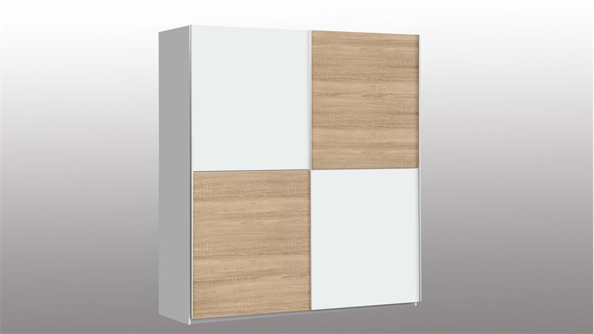 Schwebetürenschrank WINNER Schrank in weiß und Sonoma Eiche 170x190 cm