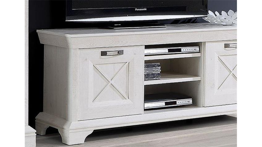 TV-Board 2 KASHMIR Lowboard TV-Unterschrank in Pinie weiß