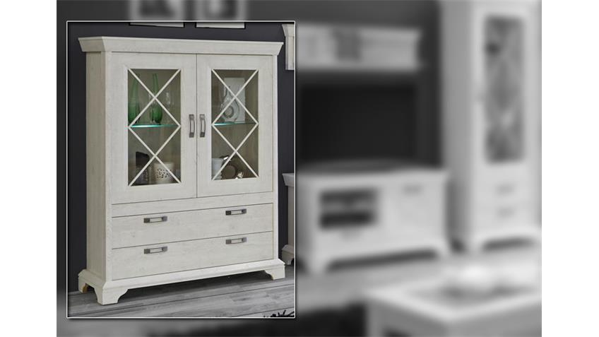 Vitrine KASHMIR Highboard Schrank in Pinie weiß inkl. LED