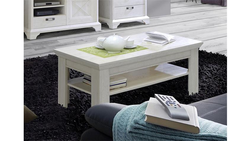 Couchtisch KASHMIR Beistelltisch Tisch in Pinie weiß 120 cm