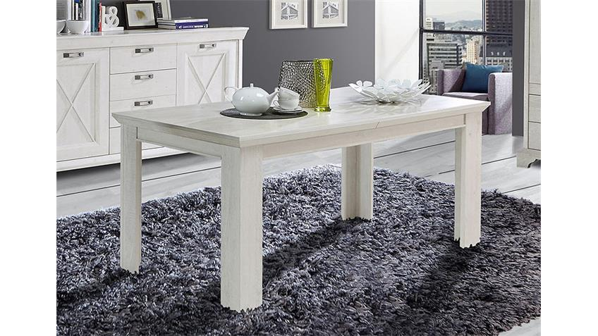 Esstisch KASHMIR Tisch Esszimmertisch in Pinie weiß 160-205