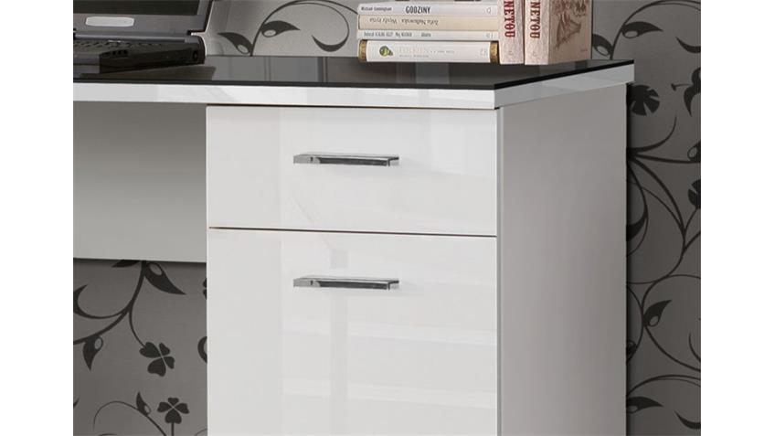 Schreibtisch NET 106 weiß hochglanz Platte in Schwarzglas