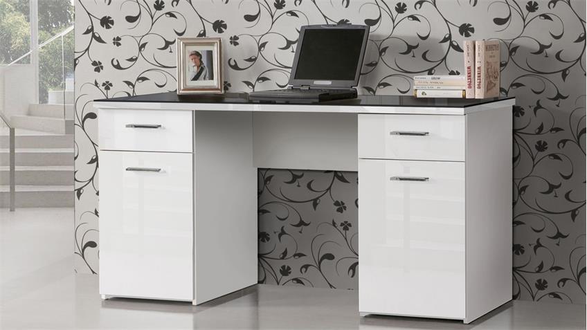 Schreibtisch NET106 in weiß Hochglanz Platte Glas schwarz 145x60 cm