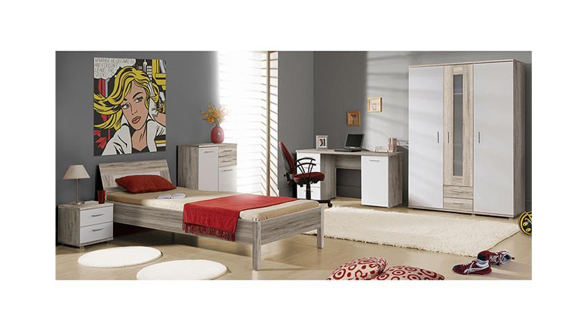 Bett BEACH Kinderzimmerbett in Sandeiche und weiß 90x200
