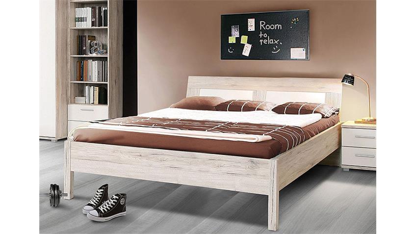 Bett BEACH Kinderzimmerbett in Sandeiche und weiß 140x200