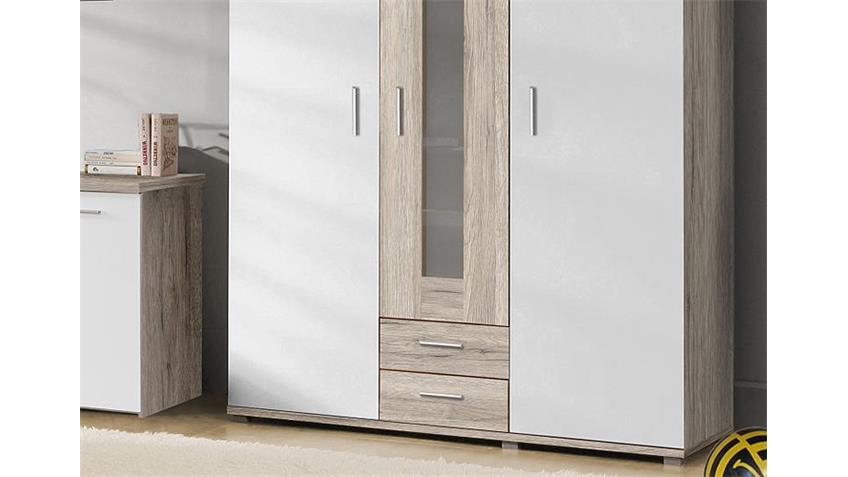 Kleiderschrank BEACH Schrank in Sandeiche und weiß 139 cm