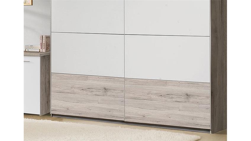 Schwebetürenschrank BEACH Schrank Sandeiche weiß 220 cm