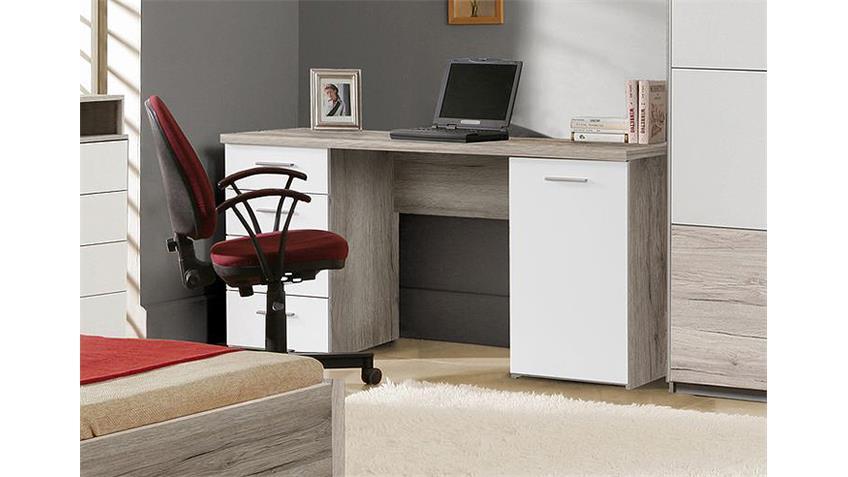 Schreibtisch BEACH Computertisch in Sandeiche und weiß