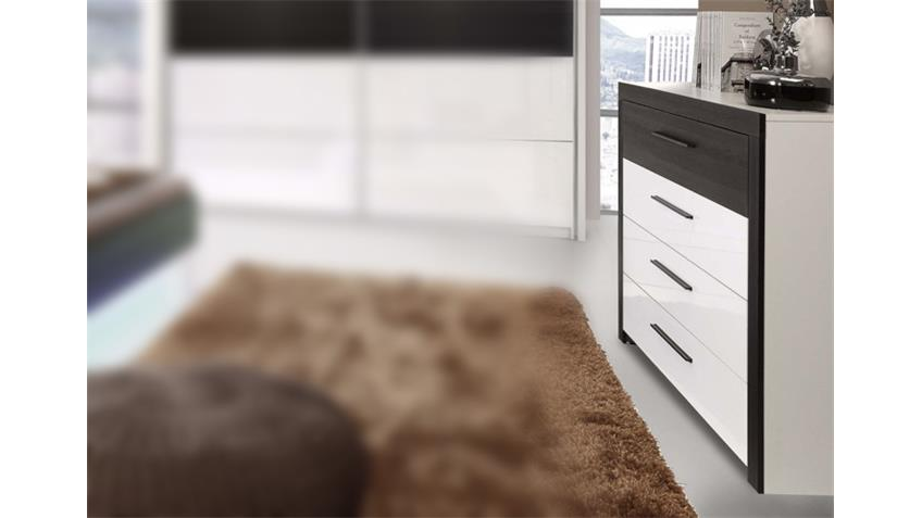 Kommode RECOVER Sideboard in weiß Hochglanz Eiche schwarz
