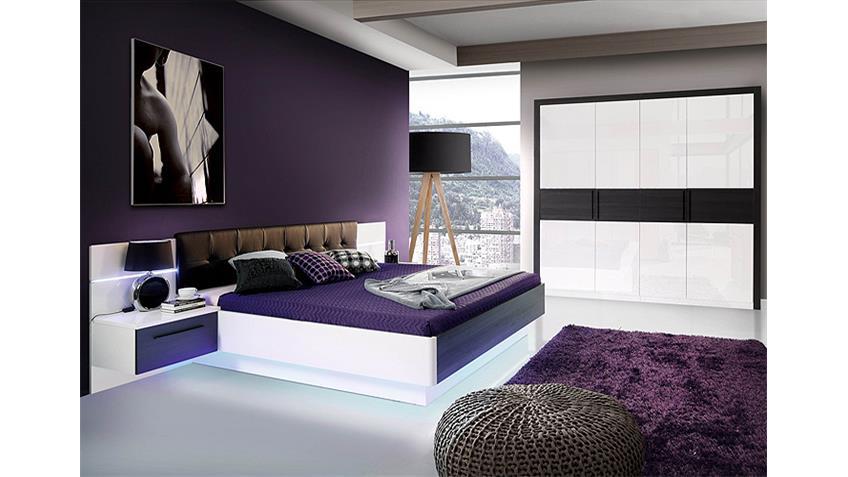 Schlafzimmer 1 RECOVER weiß Hochglanz Eiche schwarz mit LED