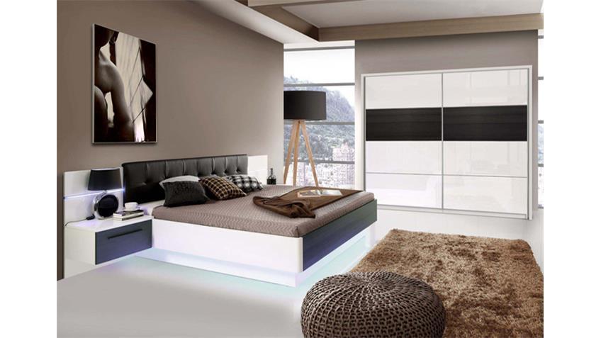 Schlafzimmer 2 RECOVER weiß Hochglanz Eiche schwarz mit LED