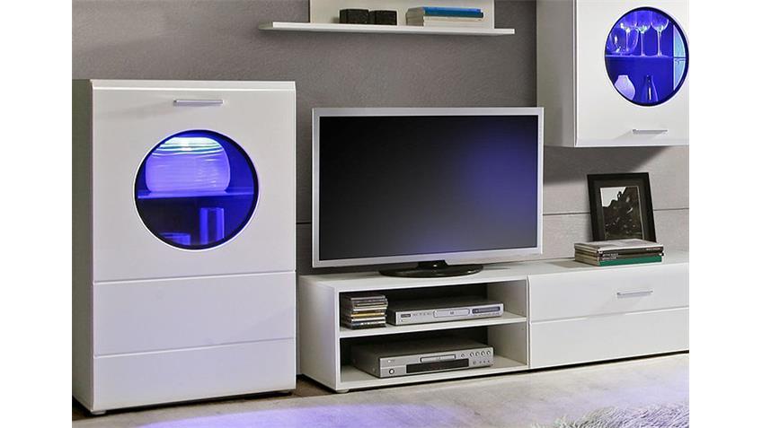 Wohnwand SKIPPER Anbauwand weiß Hochglanz schwarz inkl. LED