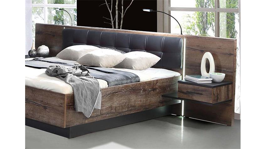 Bettanlage BELLEVUE Bett Schwarzeiche und Schlammeiche LED