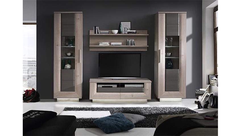 wohnwand 3 stairs anbauwand nelsoneiche eiche grau inkl led. Black Bedroom Furniture Sets. Home Design Ideas