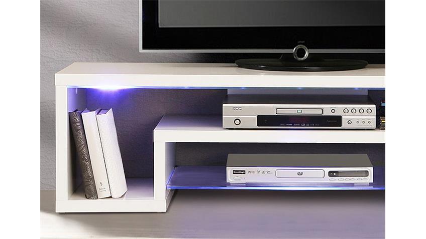 TV-Board CARA Unterschrank Lowboard weiß Hochglanz mit LED