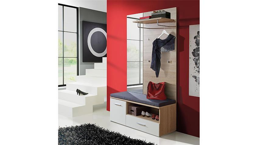 Garderobenset BAKU Garderobe Sonoma Eiche weiß Spiegel