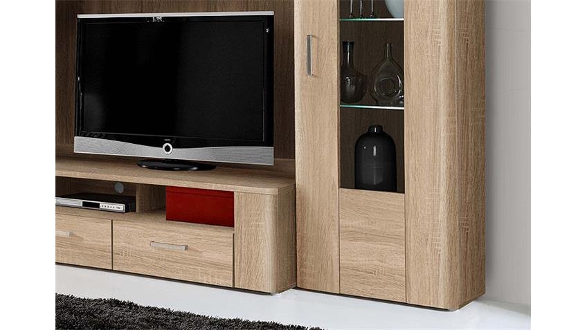 wohnwand belmondo anbauwand sonoma eiche inkl led. Black Bedroom Furniture Sets. Home Design Ideas