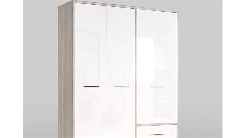 Kleiderschrank JANDIA Schrank weiß Hochglanz Sandeiche 147 cm
