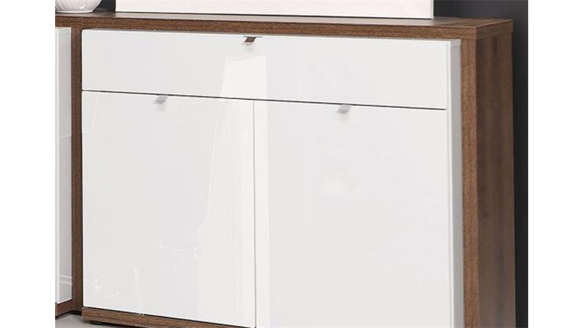 Sideboard 2 ALCANO Kommode weiß Hochglanz Schlammeiche