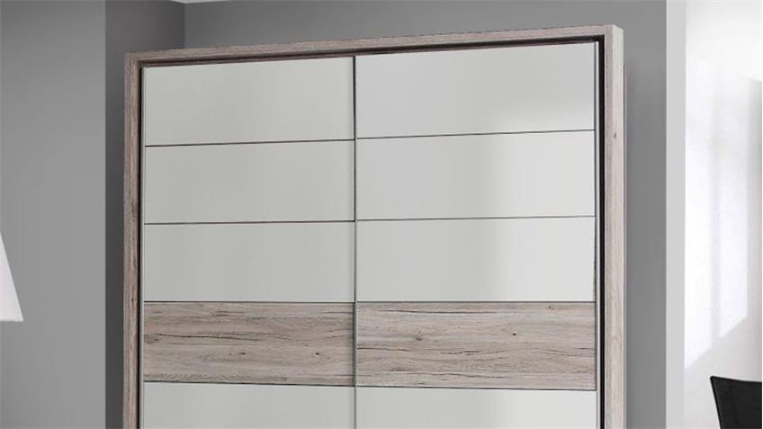 Schwebetürenschrank RONDINO in Sandeiche weiß Hochglanz mit LED 170 cm