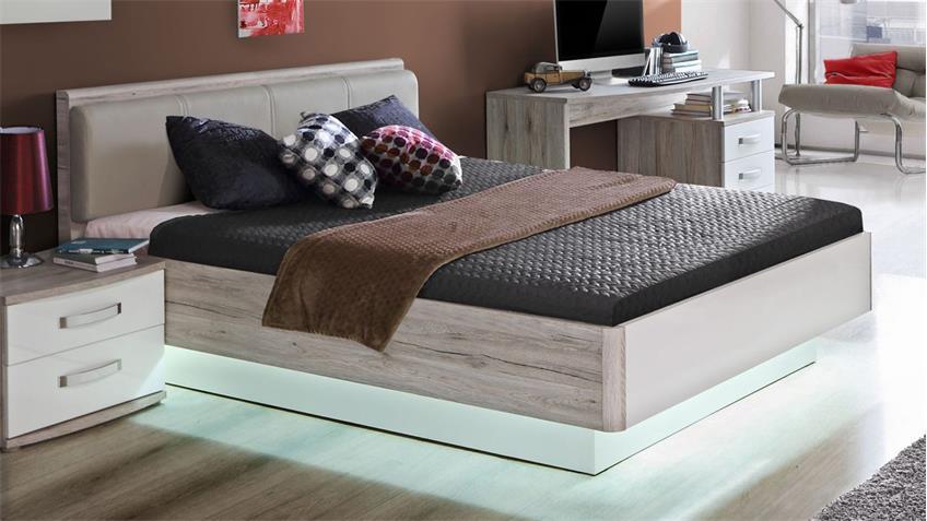 Bett RONDINO Jugendzimmerbett in Sandeiche und weiß Hochglanz 140x200
