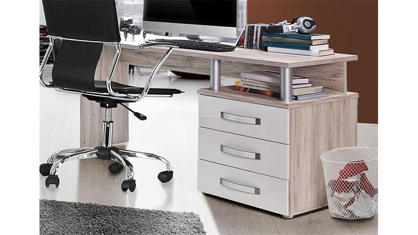 Schreibtisch RONDINO Computertisch Sandeiche Weiß Hochglanz