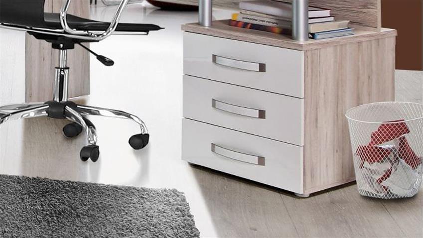 Schreibtisch RONDINO Tisch in Sandeiche und weiß Hochglanz 138x60 cm