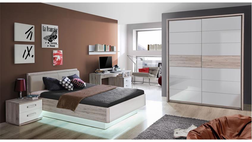 Jugendzimmer RONDINO Komplett Set in Sandeiche und weiß Hochglanz