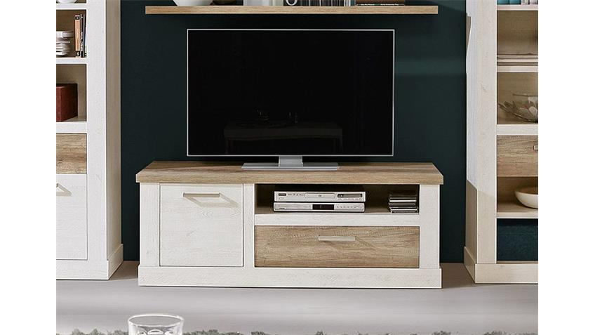 tv unterschrank duro tv board pinie wei und eiche antik. Black Bedroom Furniture Sets. Home Design Ideas