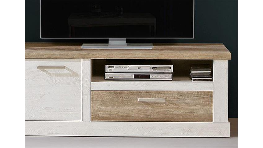 TV-Unterschrank DURO TV-Board Pinie weiß und Eiche antik