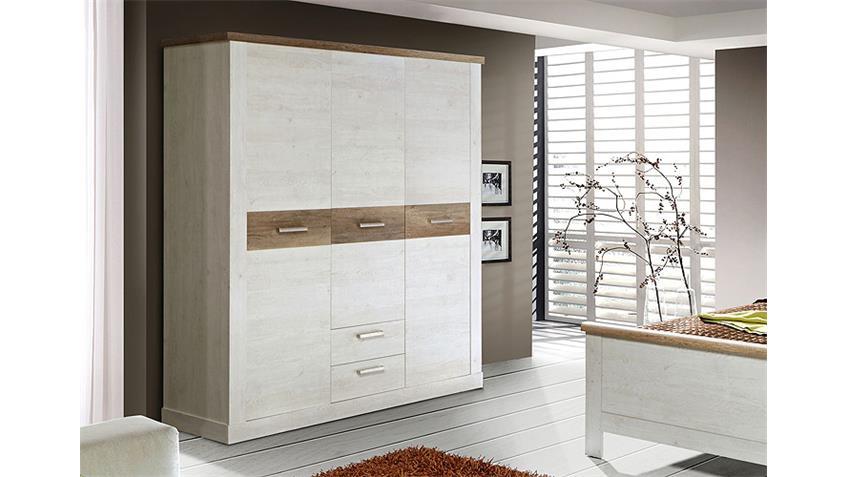 Kleiderschrank DURO Schrank in Pinie weiß und Eiche antik