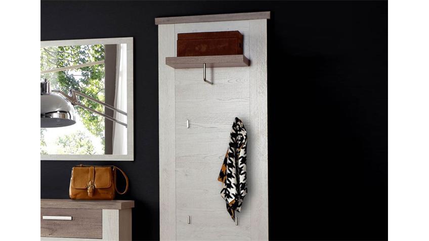 Garderobenpaneel DURO Paneel in Pinie weiß und Eiche antik