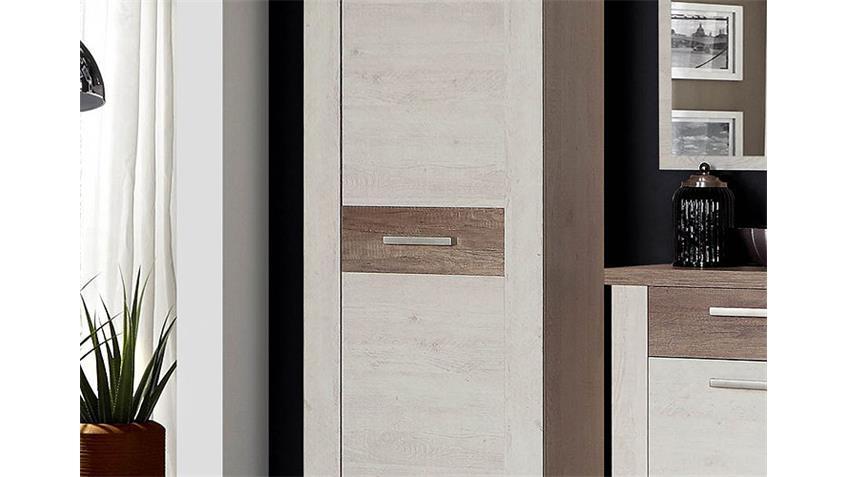 Garderobenset DURO Garderobe in Pinie weiß und Eiche antik