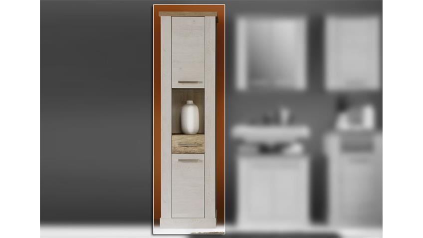 Seitenschrank DURO Badezimmerschrank Pinie weiß Eiche antik