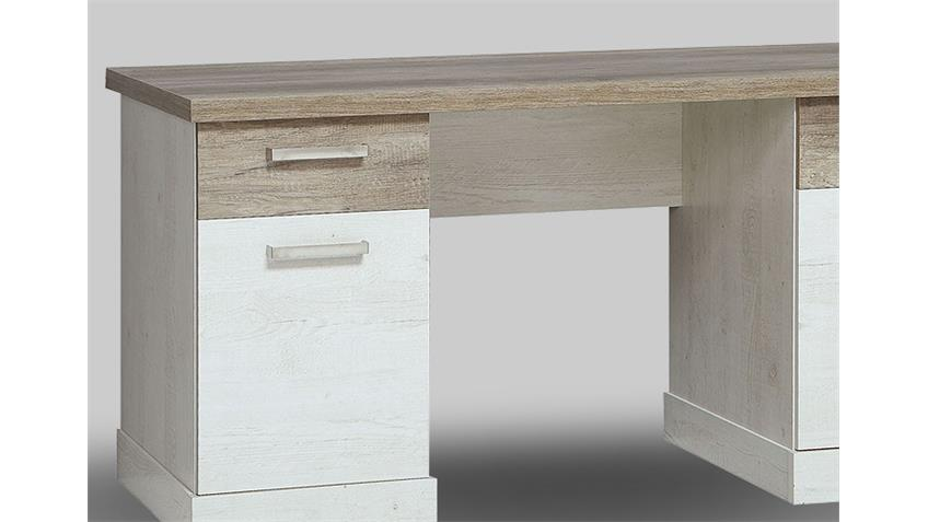 Schreibtisch DURO Computertisch Pinie weiß und Eiche antik