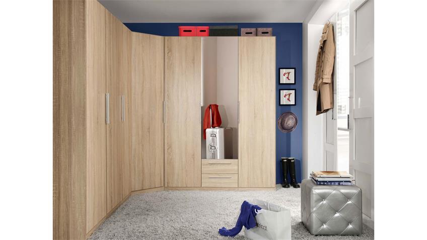 Kleiderschrank CADIXO Schrank Sonoma Eiche Spiegel 200 cm