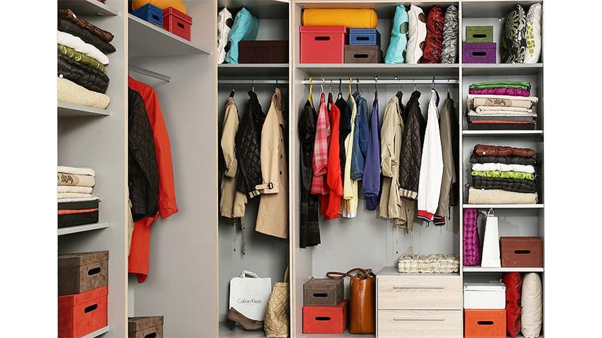 Eckschrank CADIXO Kleiderschrank in Sonoma Eiche Spiegel
