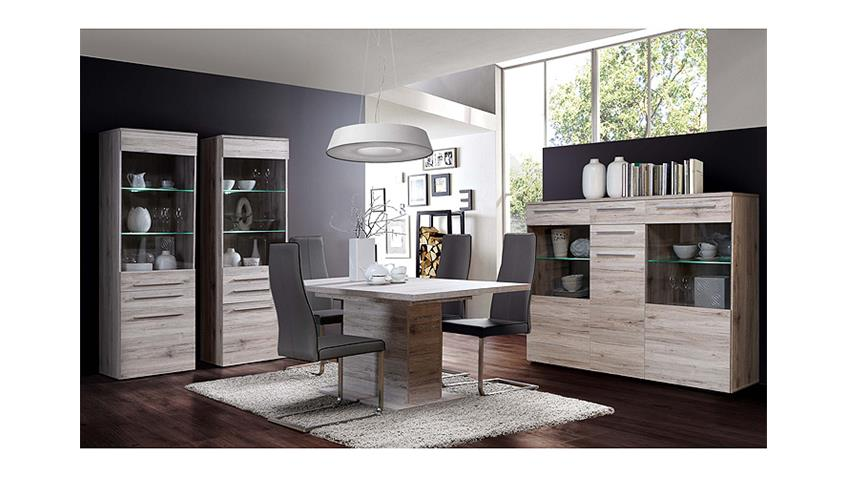 Highboard SAVOY Schrank Vitrine in Sandeiche inkl. LED