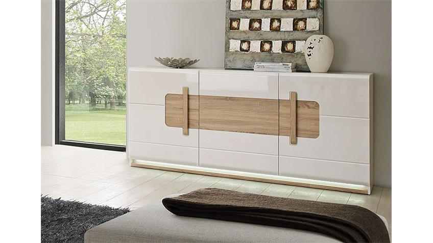 Sideboard ATTENTION Kommode weiß Glanz Sonoma Eiche inkl LED