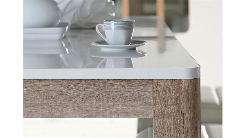 Esstisch ATTENTION Tisch weiß Glanz Sonoma Eiche ausziehbar